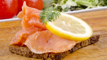 wild salmon slices on rye bread